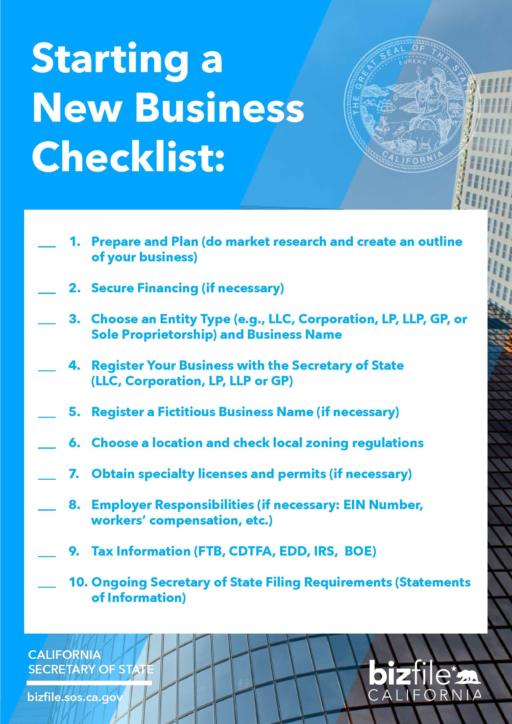starting a business checklist california secretary of state